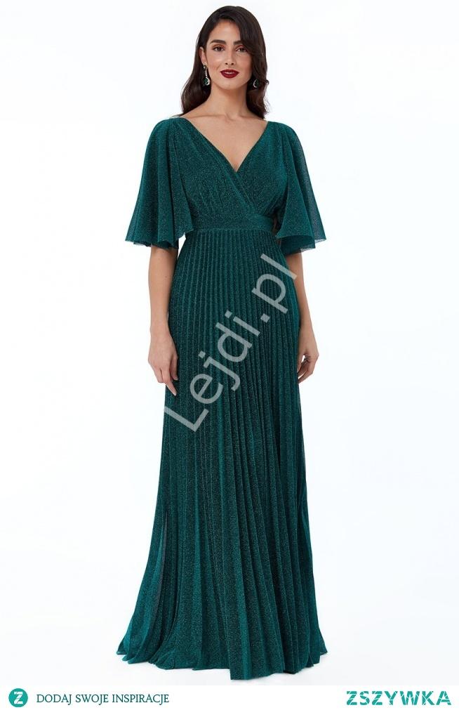 Długa szmaragdowa suknia plisowana z srebrną błyszczącą nicią. Sukienka na wesele, sukienka na sylwestra, sukienka na studniówkę