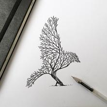 Kreatywny rysunek - w tym rysunku widzimy drzewo, a zarazem ptaka. Ja sobie go skojarzyłam z krukiem. Nie wiem dlaczego :)