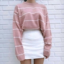 OUTFIT♡♡♡ • sweterek pudrow...