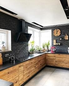 Kuchnia  #black #wood