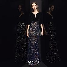 Piękne Czarne Welur Sukienk...