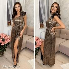 Złota cekinowa sukienka max...