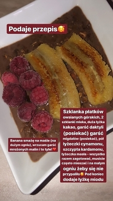 Owsianka czekoladowa z owocami