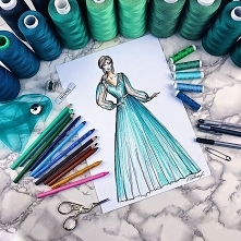 Indywidualny projekt turkusowej sukni tiulowej #sopsi #sopsifashion #dress #dresslover #szycie #sewing #project #fashiondrawings #illustration #illustrator #woman #girl #wedding...