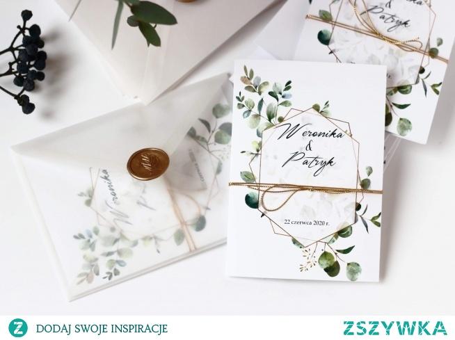 zaproszenia i dodatki weselne z eukaliptusem zaproszenianavi.pl