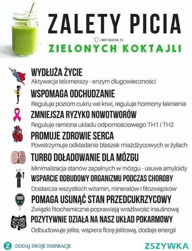 zalety picia zielonych koktajli