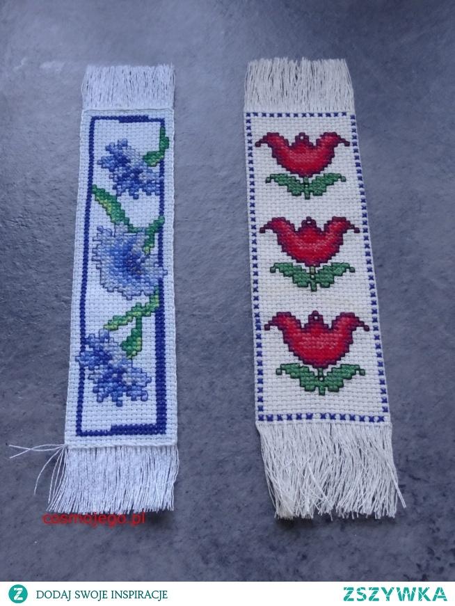 zakładki do książek ozdobione haftem krzyżykowym