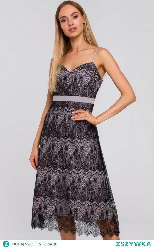 MOE Koronkowa szara sukienka M483