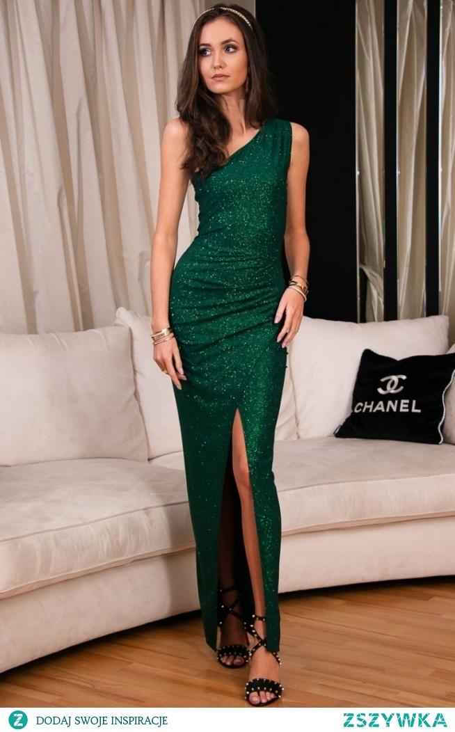 ROCO Elegancka zielona sukienka z brokatem 274