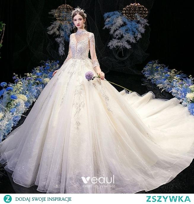 Wysokiej Klasy Szampan Przezroczyste ślubna Suknie Ślubne 2020