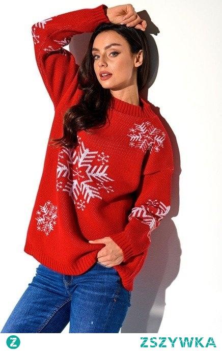 Sweter damski półgolf ze śnieżynką
