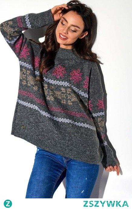 Sweter damski półgolf w świąteczne wzory