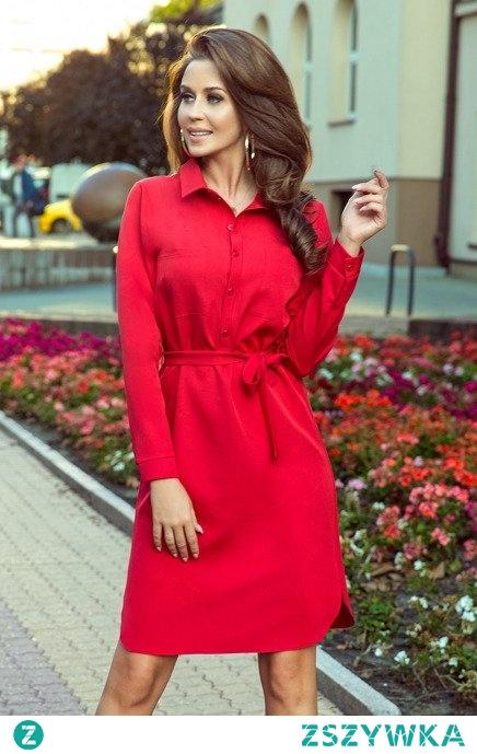 Koszulowa sukienka z kieszonkami i wiązaniem