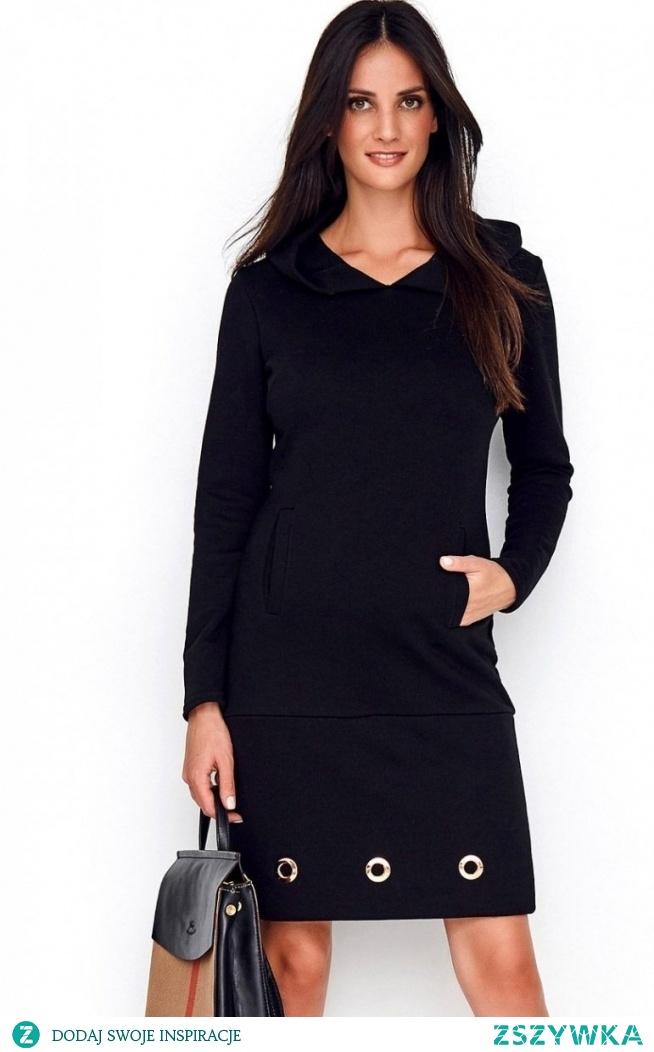 Numinou Dzienna sukienka z kapturem czarna NU218