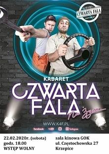 """Zaproszenie na spektakl kabaretu """"Czwarta Fala"""" w Gminnym Ośrodku Kultury w Krzepicach."""