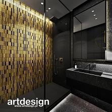 Czarno-złota łazienka z moz...