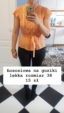 sprzedam łososiowa pastelowa bluzka żabot 38 - 15 zł
