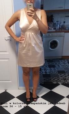 sprzedam sukienka satyna kremowa