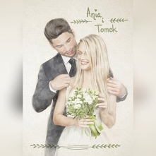 Akwarelka, prezent na wesele, ślub. Prezent dla małżonków na rocznicę. Nadruk na zaproszenia ślubne. Prezent dla męża lub żony.