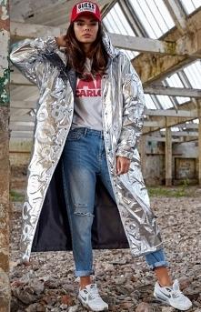 Awama Długa srebrna kurtka ...