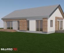 SEJ-PRO 026 ENERGO to ekonomiczny projekt nowoczesnej parterówki. Duże przeszklenia sprawiają, że pomieszczenia są dobrze doświetlone i optycznie powiększone. Projekt idealnie s...