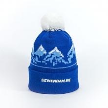 Ciepła czapka z pomponem i górami  Kolorowa czapka zimowa na mroźne i szare d...