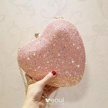Śliczny Cukierki Różowy Cekinami W kształcie serca Kopertówki 2020