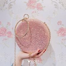 Piękne Cukierki Różowy Cekinami Okrągłe Kopertówki 2020
