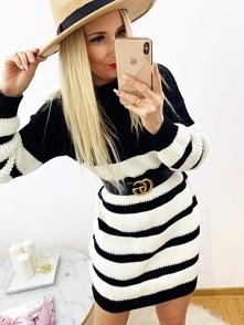 Długi Sweter w Biało Czarne...