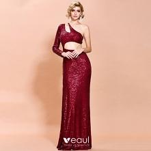 Moda Burgund Cekiny Sukienk...
