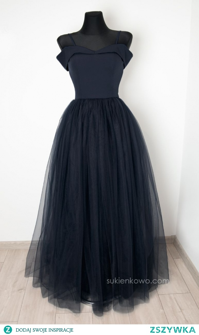 ANGEL - Długa tiulowa sukienka bez ramion czarna PREMIUM sukienkowo.com