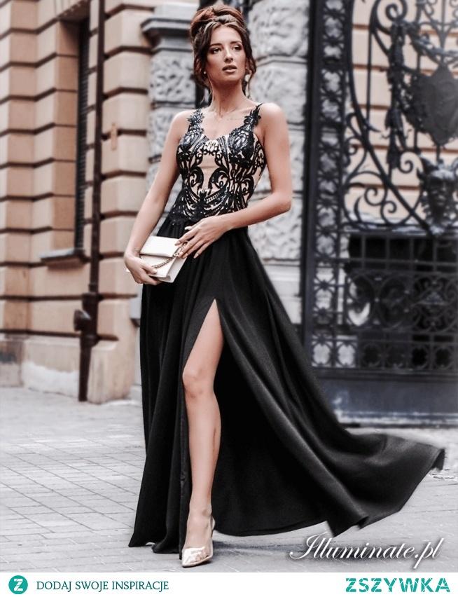 Długa czarna sukienka wieczorowa z kolekcji illuminate.pl <3