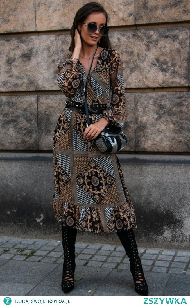 Roco Sukienka midi z falbaną 0241/D64