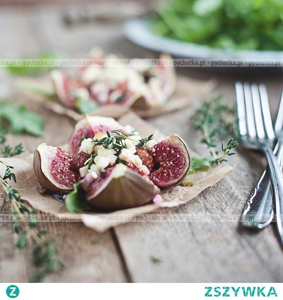 Figi z kozim serem z sosem worcester