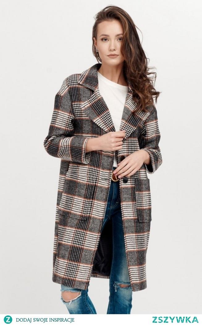 Roco Oversizowy płaszcz w kratę 0014/A06
