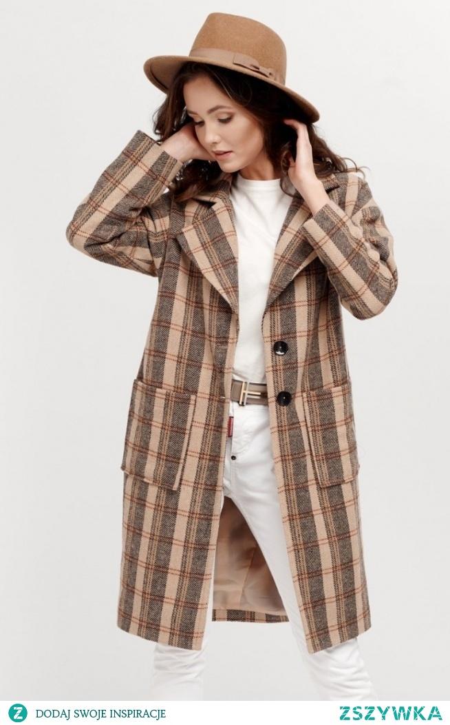 Roco Oversizowy płaszcz w kratę 0014/A07