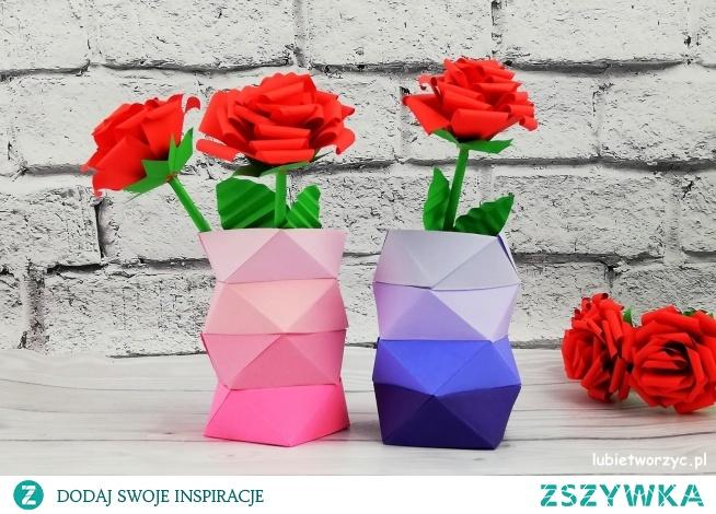 Tutorial ukazujący sposób wykonania papierowego wazonu w stylu ombre ;)