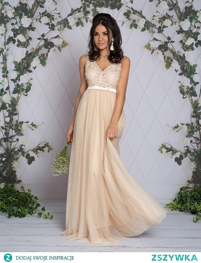 Kliknij w zdjecie by przejsc do produktu sukienkowo.com ELIZA - Długa tiulowa sukienka z gipurami ecru
