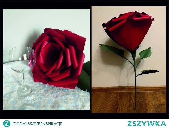 Duża róża, ręcznie wykonana z papieru, świetna alternatywa dla naturalnych kwiatów, które po kilku dniach trzeba wyrzucić. Wysokość 70 cm, średnica kwiatu 30 cm.