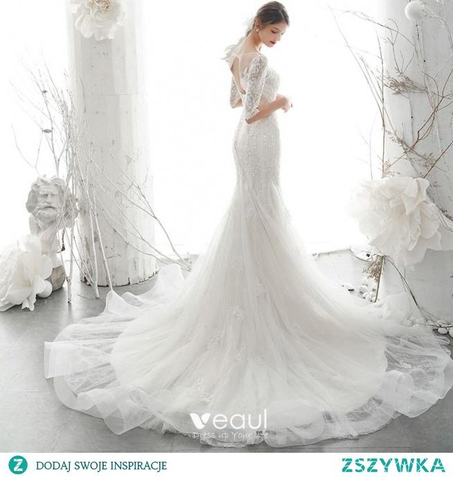 Eleganckie Kość Słoniowa Przezroczyste ślubna Suknie Ślubne 2020