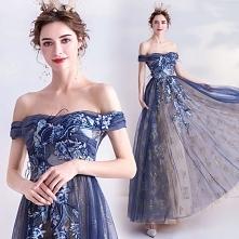 Eleganckie Granatowe Sukien...