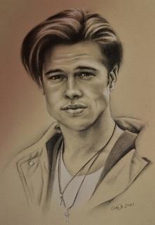 Brad Pitt, ołówek 8b, biała...