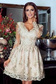 Koronkowa sukienka złota Am...