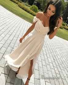 Beżowa asymetryczna sukienk...