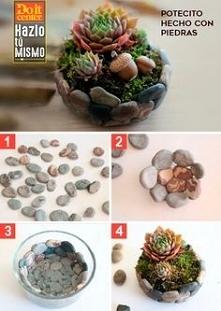 ساخت گلدان با سنگ
