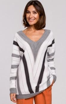 STYLE Ażurowy sweter w geom...