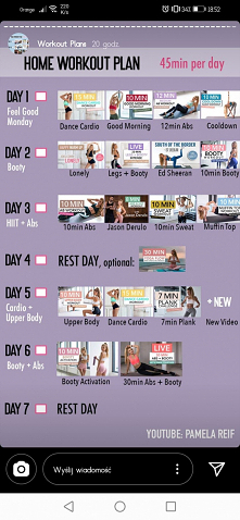 Tygodniowy plan 45 min - dla zaawansowanych
