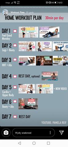 Tygodniowy plan  30 min - dla średnio zaawansowanych