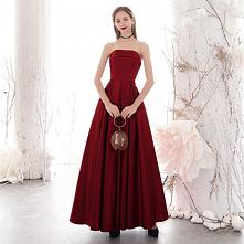 Eleganckie Burgund Sukienki Wieczorowe 2020 Princessa Bez Ramiączek Bez Rękawów Bez Pleców Długie Sukienki Wizytowe