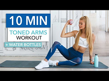 10 MIN TONED ARMS - quick & intense at home / with water bottles I Pa...